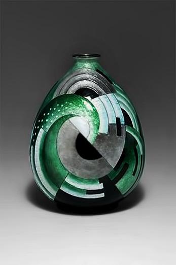 1930's-Art-Deco-Camille-Faure-Limoges-Green-Vase