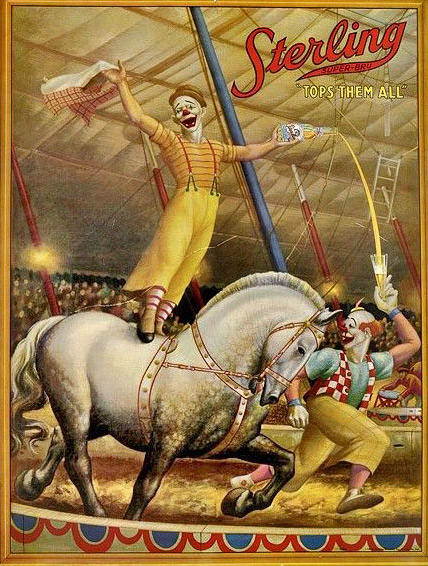Sterling Circus retro poster - clown riding a horse