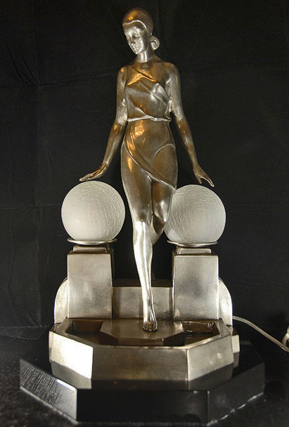 Art-Deco-silver-bronze-figurine-lamp-light-signed-Fayral