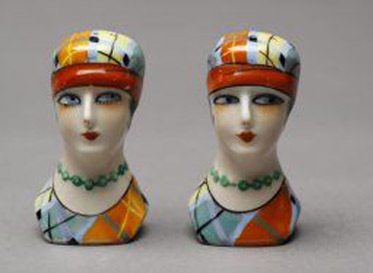 Art Deco-flapper-female-busts-Salt-Pepper dispensers
