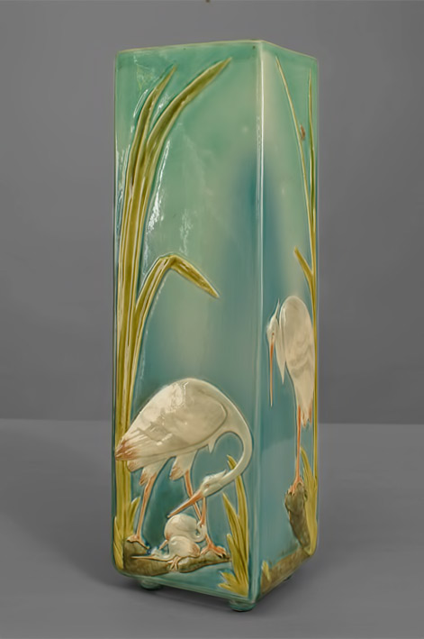 Turn-of-the-Century-French-Sarreguemines-Vase-with-Floral-and-Aviary-Designs-19th-centuryNEWEL-LLC