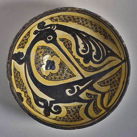 Bowl,-Iran,-Nishapur,-10th-century.-Earthenware,-underglaze-slip-painted
