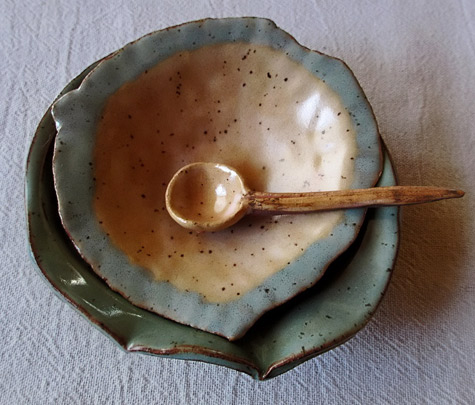 Dalya-Yohai-ceramic bowl dish and spoon with wooden handle