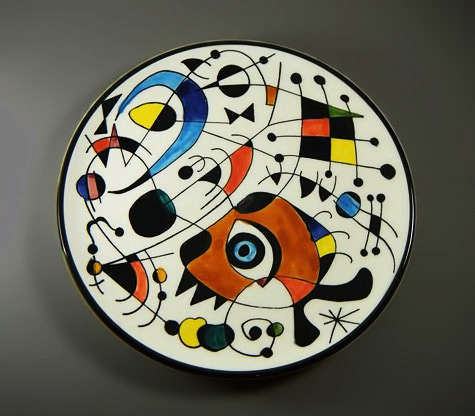 Joan-Miró inspired-abstract ceramic plate