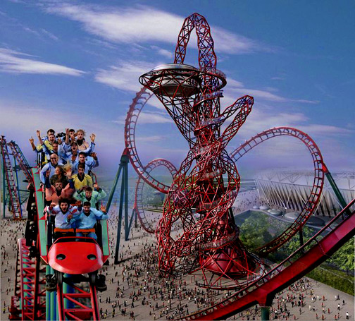 Olympic-Roller-Coaster - with the-ArcelorMittal-sculpture-in-London