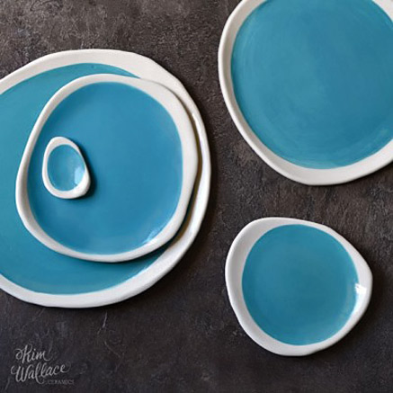 Pebble-Plate-Aqua-by-Kim-Wallace & Contemporary art plates and platters