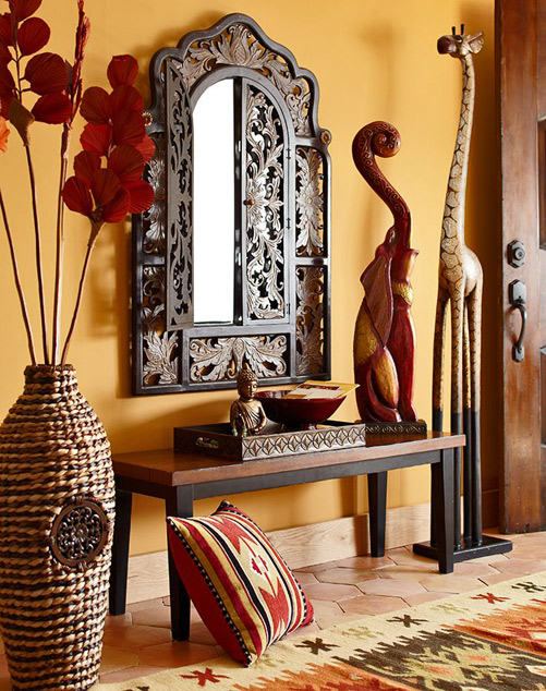 Pier1 giraffe and elephant sculptures - Eastern Afrocentric theme decor