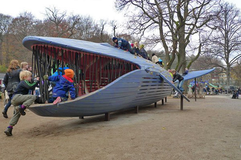 The Blue Whale in Plikta park, Gothenburg, Sweden. Designed by Monstrum