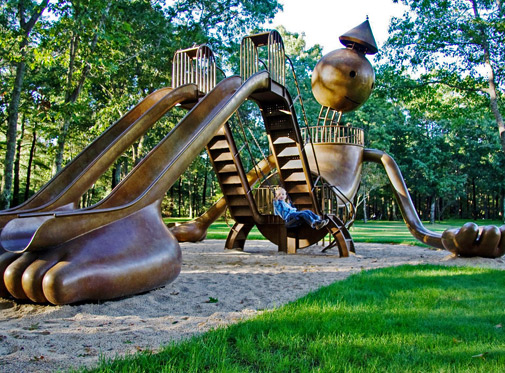 bronze-playground-sculpture-'Playground'-by-artist-Tom-Otterness,Aspinwall-Riverfront-Park