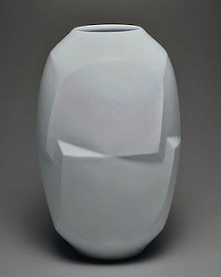 Akirio-Maeta multi faceted ceramic vessel pale blue