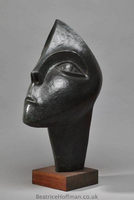 Beatrice Hoffman-titled-'Questioning- Big-Abstract-Female-Head-Sculptures