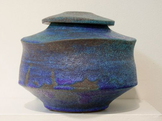 Diana-Thomas blue lidded ceramic vesse;