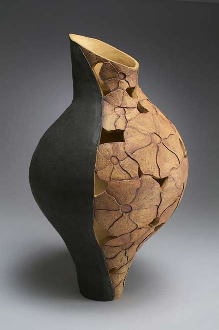 Linda-Kliewer wood carved modernist shaped vessel