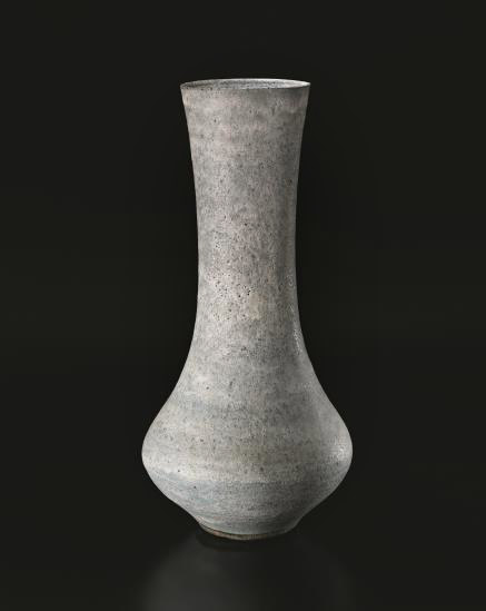 Monumental-vase,-c.-1980---Lucie-RieStoneware,-pitted-blue-and-white-flowing-glaze.21