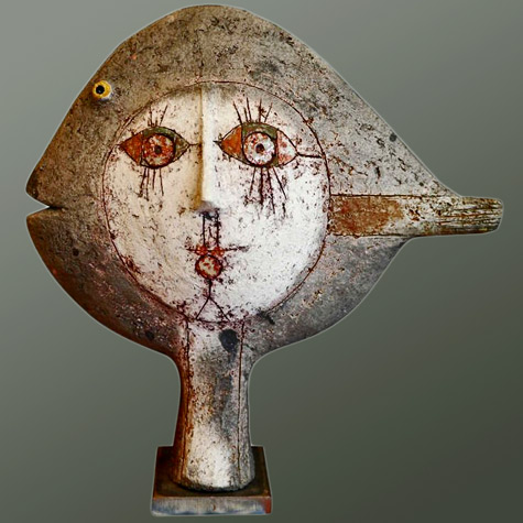 Raku-Sculpture-by-Roger-Capron---Vallauris---France---1995