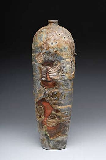 Scott_Parady_Tall_Vase_w_Shells anagama wood fired stoneware