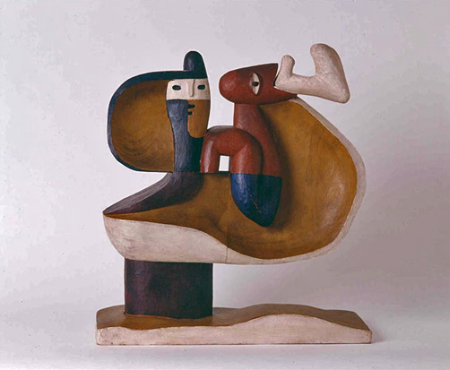 Sculpture-by-Le-Corbusier-The-child-is-there-,-1961.-Made-out-of-Polychrome-wood