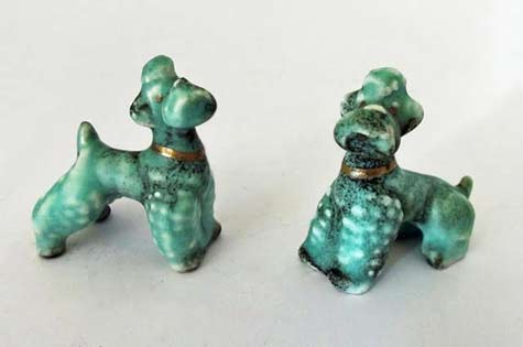 2-50s-Goebel-green poodles ceramic figurines