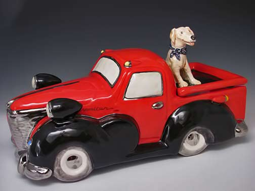 Dog in the back of a red pickup truck Laura Wilensky: Laura Wilensky Porcelain Kingston, NY