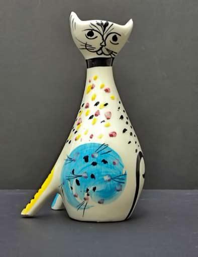 50s-Ceramic-Cat-Vase.-Italy-VraiVintage