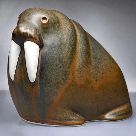 Arabia-Finland-Art-Porcelain-Walrus-Sculpture-MCM-Taisto-Kaasinen---TwoGuysAndADog