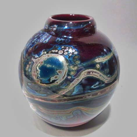 Audrey-Handler-Signed-1973-Studio-Art-Glass-Hand-Blown-Abstract-Vase-Wisconsin---eBay