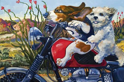 Painting - Biking-the-Bloomin'-Desert-by-Connie-Townsend