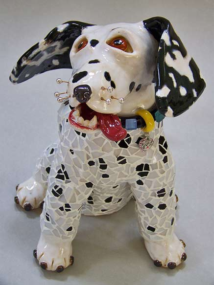 Mosaic body Bixby-Dalmatian-Dog-Sculpture by Suzanne Noll