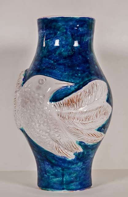 Blue-White-Vase-with-Bird-Gigi,-circa-1960s-by-Robert-and-Jean-Cloutier