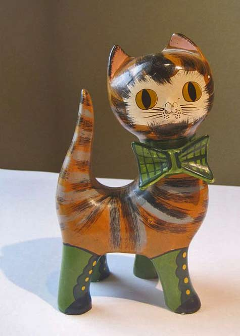 Cat-Mexican-Style-Figurine paston-etsy Cute kitten with bow tie