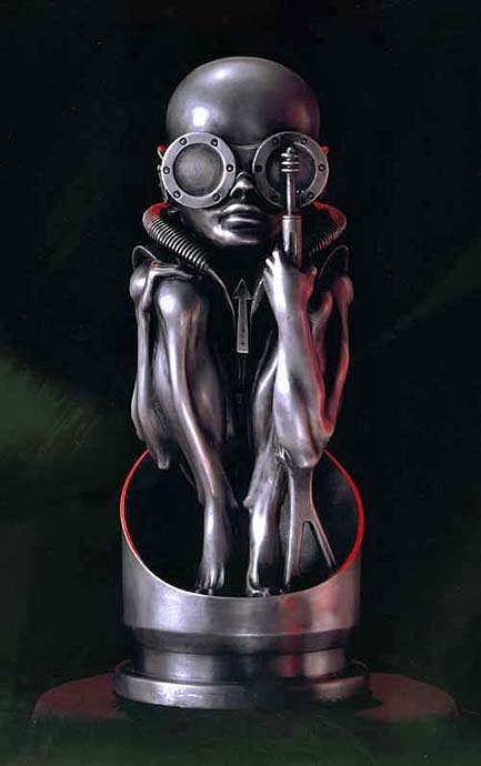 Metal sculpture - 'Birth Machine Baby Aluminum' - H,R,Giger