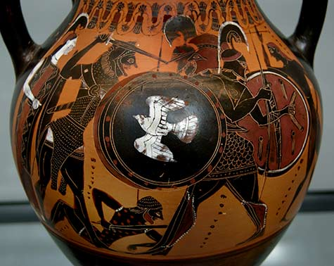 Herakles_Geryon_ on an Attic black-figured amphora with a thick layer of transparent gloss, c. 540 BC, now in the Munich State Collection of Antiquities.