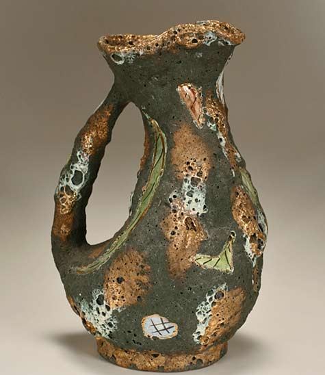 Italian-Midcentury-Modern-pottery-vessel-marked-Italo-Casini;-volcanic-glaze-pottery-pitcher-form-with-green-and-gold-decoration
