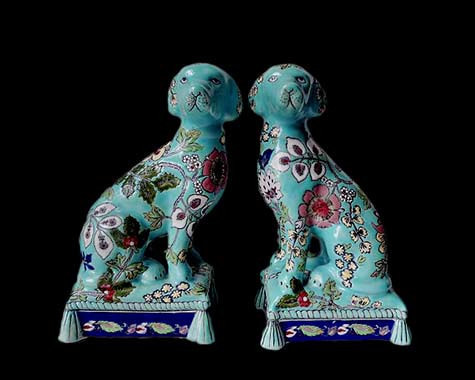 pair-of-ceramic-blue-dogs-with-flowers-design-bringthenoise-etsy
