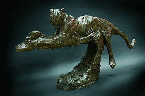 patrick-villas bronze wild cat sculpture