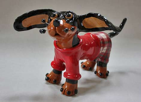 Pickles-the-Pup-Ceramic-Dog-Sculpture by Suzanne Noll