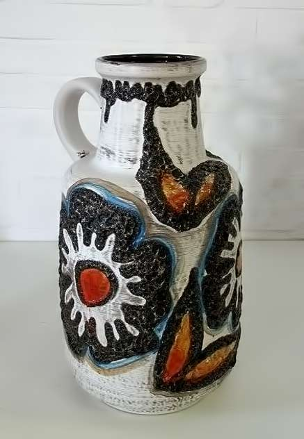 VINTAGE-SIXTIES-MID-CENTURY-GERMAN-CERAMIC-FAT-LAVA-ART-POTTERY-FLOOR-VASE-60'