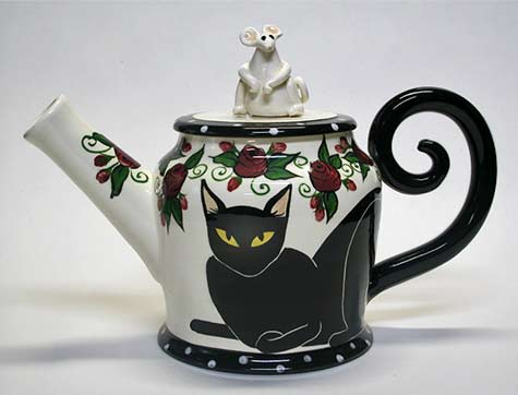 black-cart-teapot with mouse figure lid-april-gadler-ceramics