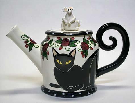 black-cat-teapot with mouse figure lid-april-gadler-ceramics