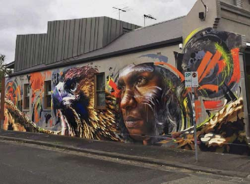 "www.sirum1.com on Instagram ""Recent collaboration with the awesome adnate complete bunjil adnate sirum melbournestreetart Photo thanks to deansunshine"