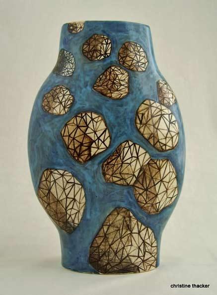 1100-deg,-clear-glaze vase by Christine Thacker