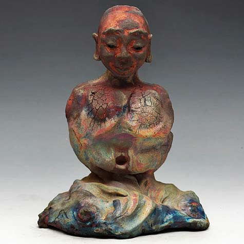 Abstract-Raku-Ceramics-Buddha-Seated-in-Meditation---Anita-Feng