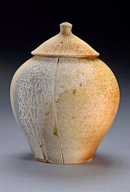 Allamakee-Wood-Fired-Pottery conical lidded ceramic jar