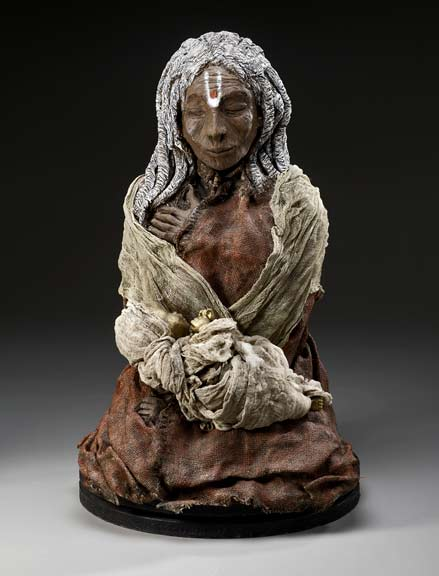 Ancient-Consecration-Kat-McIver seated mystic sculpture - white raku clay