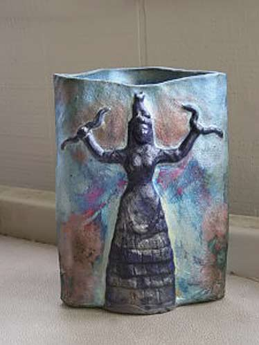 Anne-Shulenberger slab built snake goddess vase