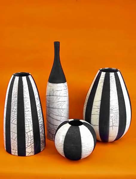 Black-and-white-striped-raku-pots Bubani artee raku