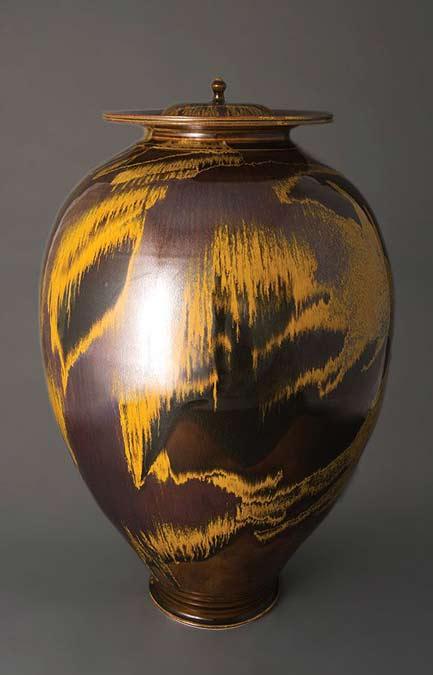Brother-Thomas,-large-vase-with-2-covers,-iron-yellow-glaze,-porcelain