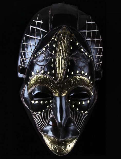 Cameroon-black-wood-and-brass-Tikar-mask