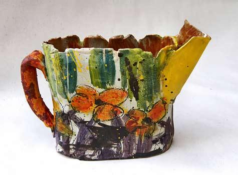Caroline-Chevalier----ceramic jug with abstract botanical decoration