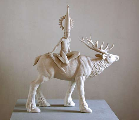 Indian deity riding a moose - Durga-In-Montana-Tricia-Cline ceramic sculpture